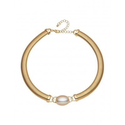Barcs Womens Pearl Feature Coil Collar Necklace Trending WXYMJJM -