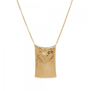 Women's Paco Rabanne Pixel Chain Mail Necklace Gold Size 12 VCHL615