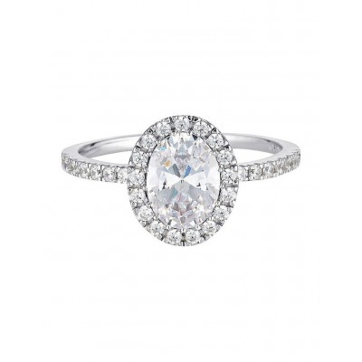 Georgini Women Oval Halo Ring Sterling Silver good quality QFFNWUM -