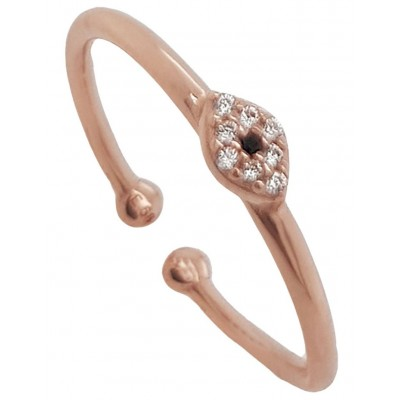 Mocha Women's Just Must Adjustable Ring w/ White Zirconia - Rose Gold on style TYDNKCC -