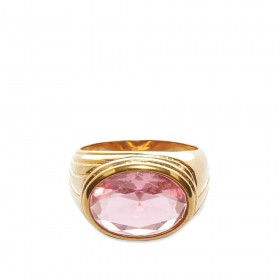 Women's Timeless Pearly Crystal Ring Pink & Gold In Narrow Sizes QVKW180