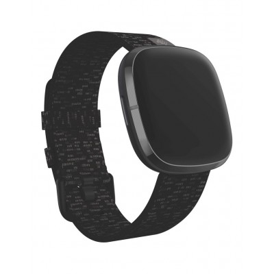 Fitbit Womens Versa 3/Sense Woven Band Charcoal Large In Store TUPDNMK -