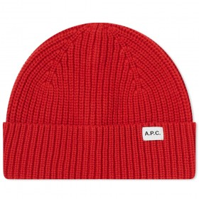 Womens A.P.C. New Billie Beanie Red In Narrow Sizes on style UJQZ778