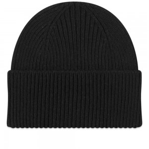 Women's Colorful Standard Merino Wool Beanie Deep Black For Working Out CUUW914