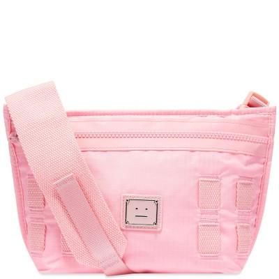 Women's Acne Studios Agios Plaque Face Cross Body Bag Bright Pink In Narrow Width RQOC227