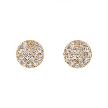 Mocha Women's Briller Pave Disc Sterling Silver Earrings - Gold stores LJEANID -